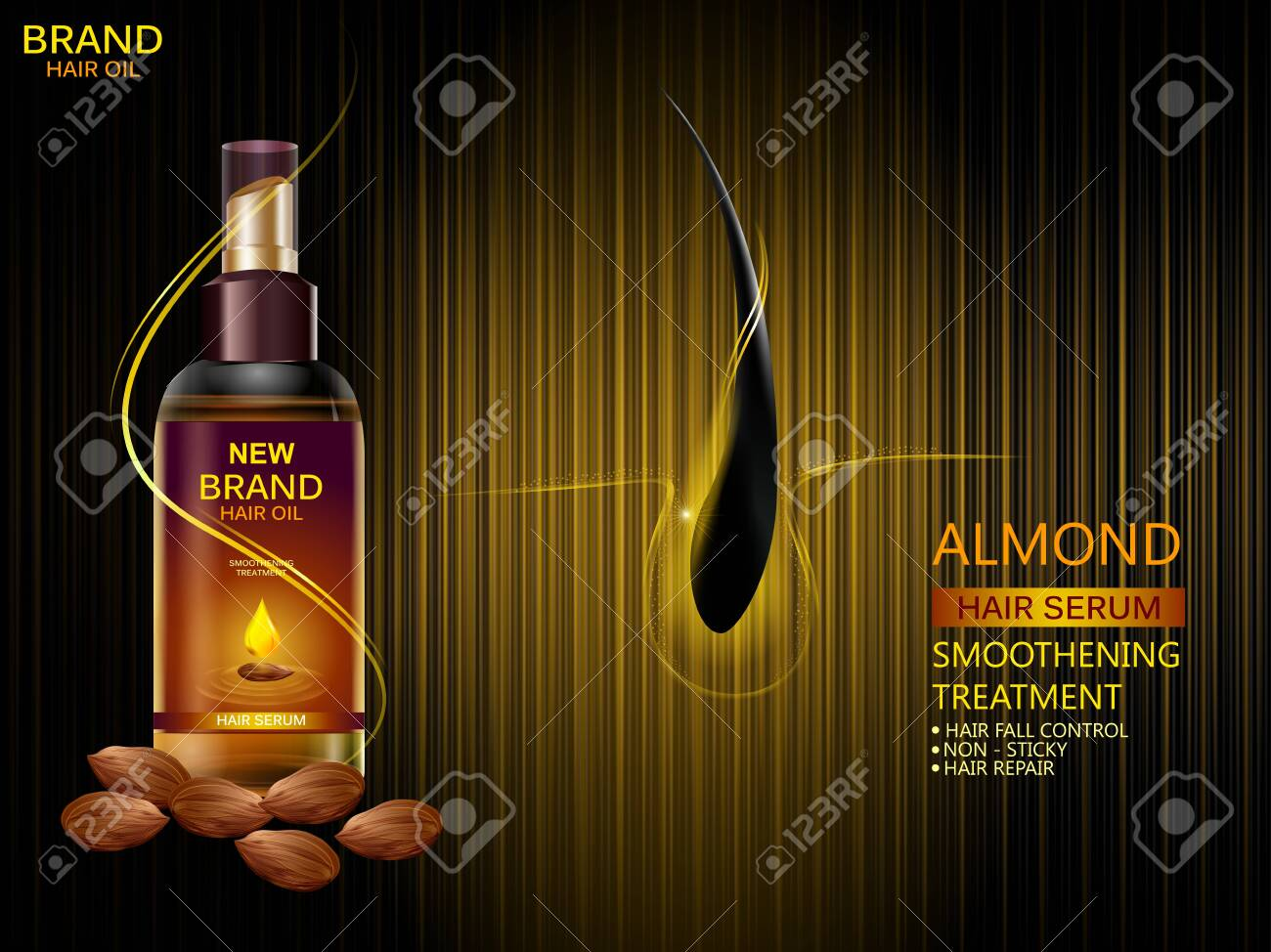 easy to edit vector illustration of Advertisement promotion banner for almond oil hair serum for smoothening and strong hair - 123760266