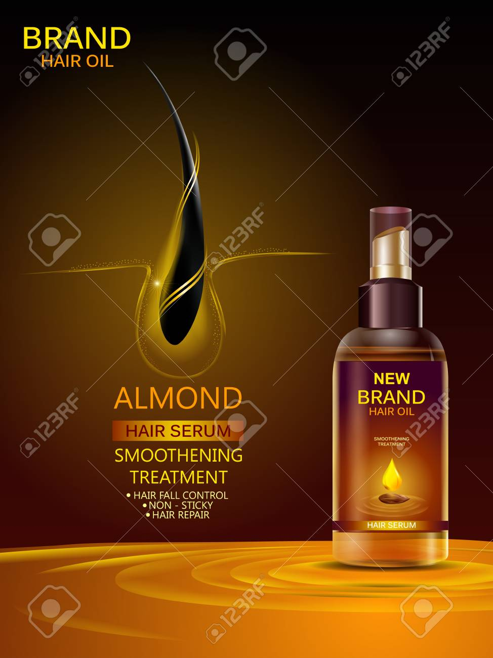 Advertisement Promotion Banner For Almond Oil Hair Serum For Royalty Free Cliparts Vectors And Stock Illustration Image 121829576