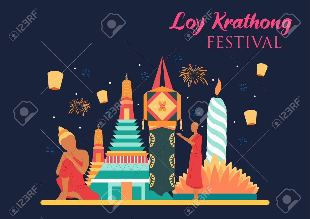 illustration of Loy Krathong Siamese festival of Lights traditional celebration of Thailand - 133653729