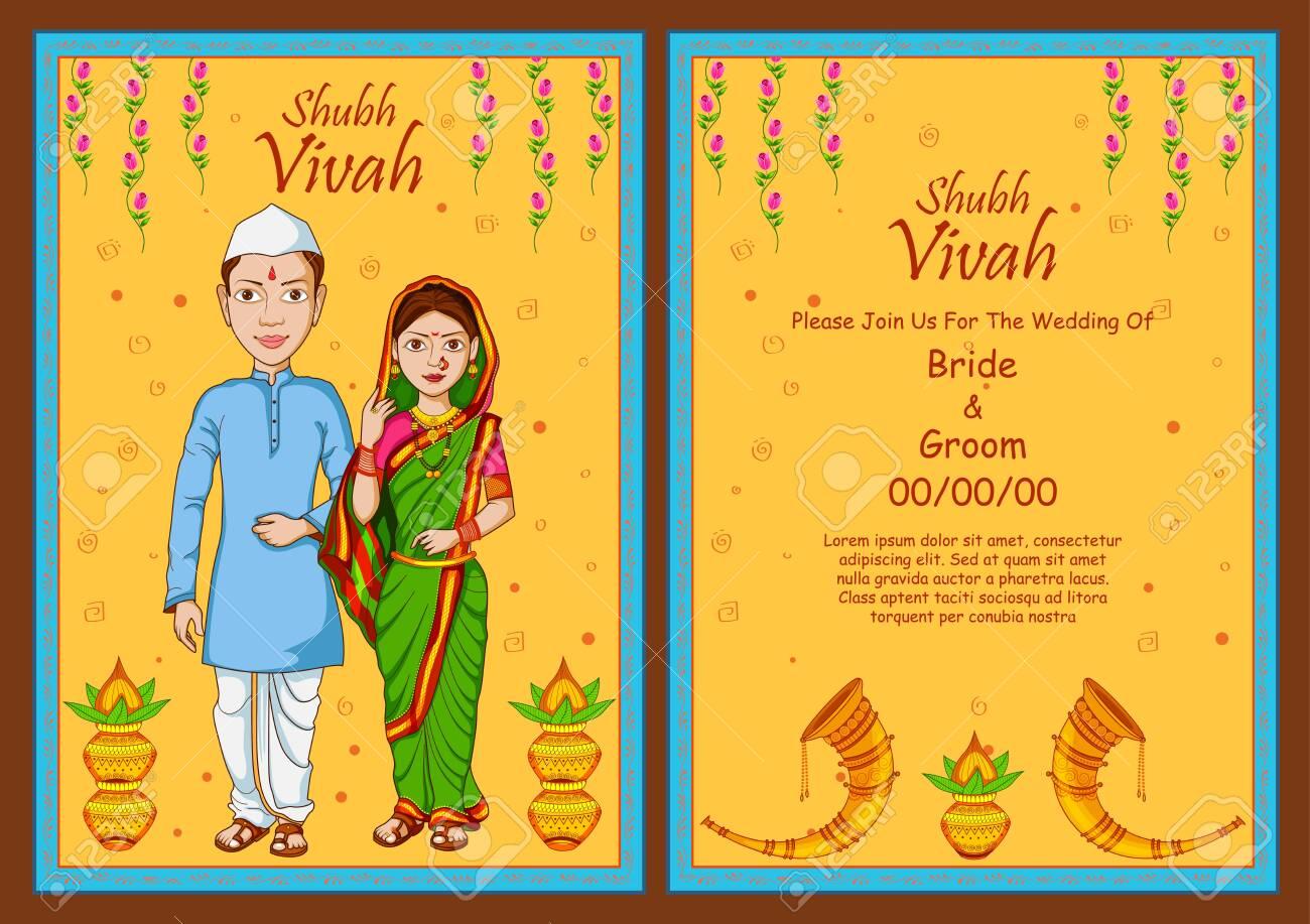 Illustration Of Maharashtrian Couple On Indian Wedding Invitation Royalty Free Cliparts Vectors And Stock Illustration Image 140159378