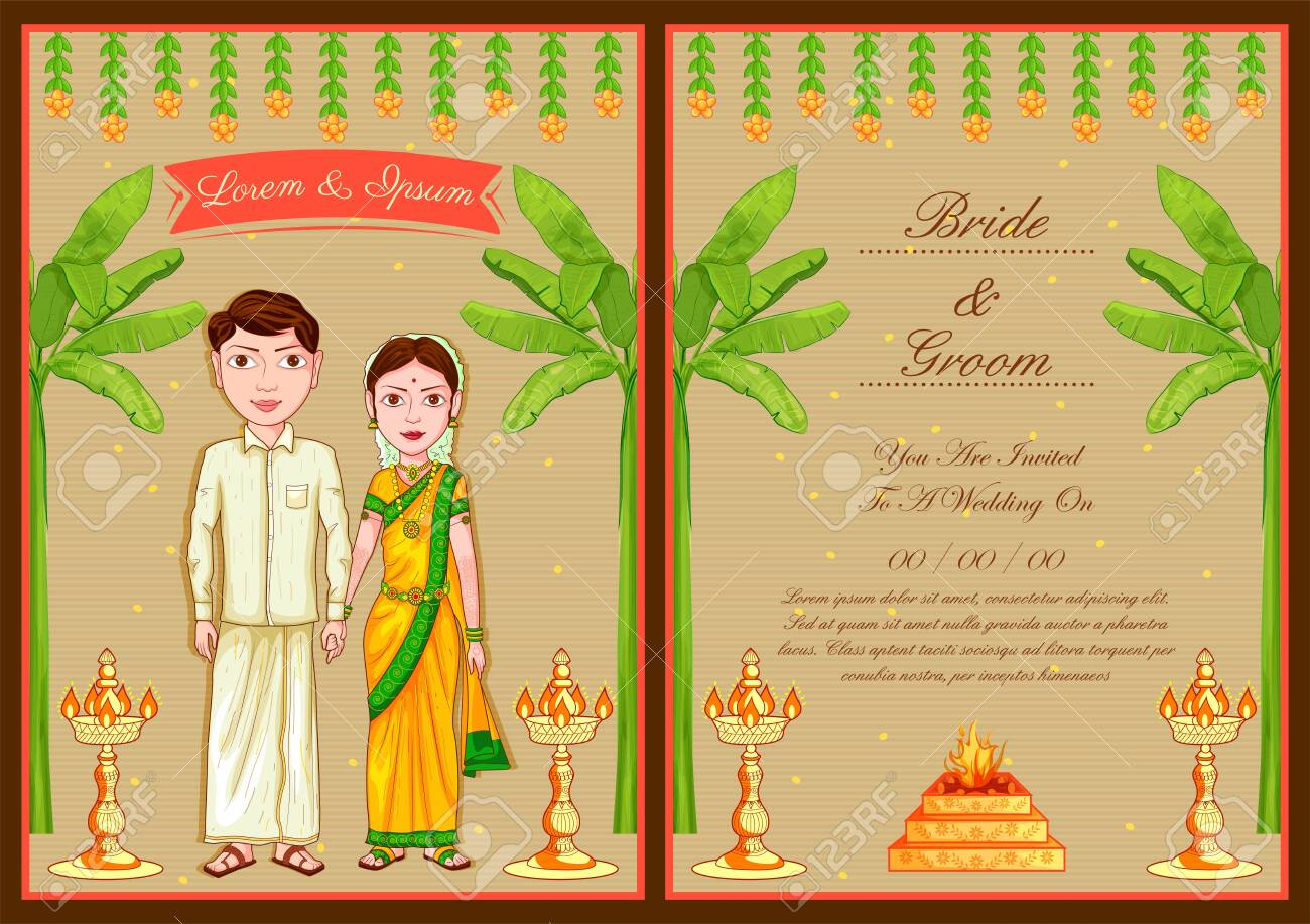 Illustration Of South Indian Couple On Indian Wedding Invitation Royalty Free Cliparts Vectors And Stock Illustration Image 140159501