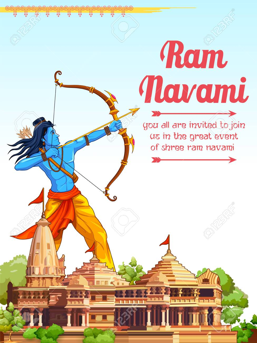 Illustration Of Lord Rama With Bow Arrow In Shree Ram Navami.. Royalty Free  Cliparts, Vectors, And Stock Illustration. Image 152885201.