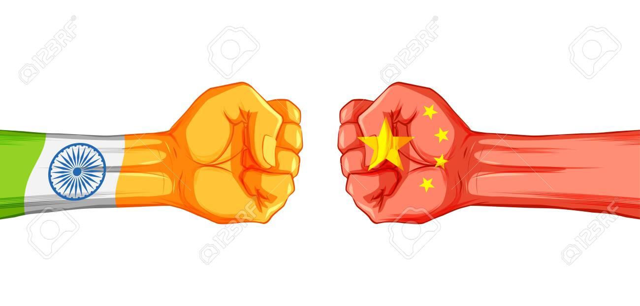 illustration of India vs China concept showing tension and confrontation in borders - 150153555