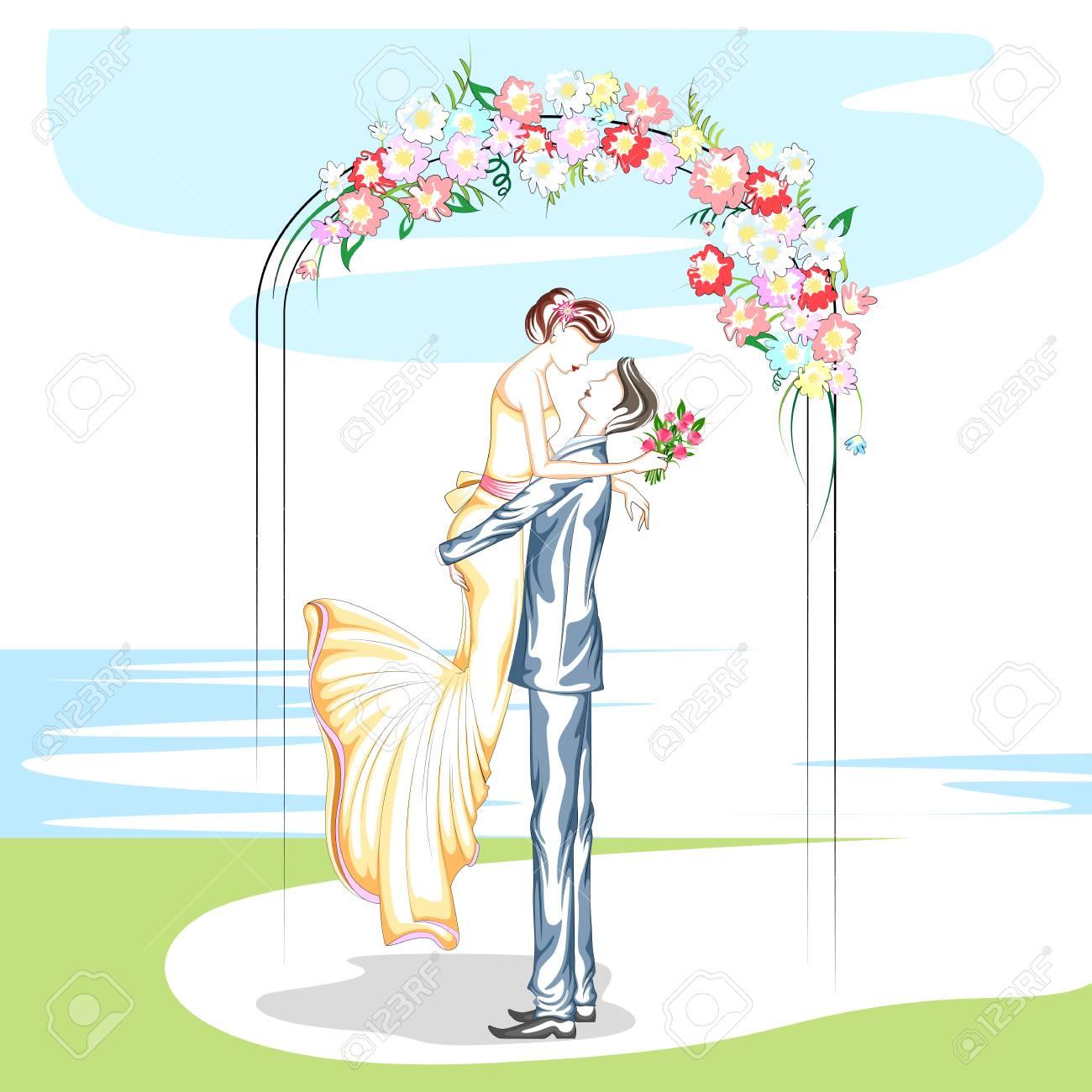 Beautiful couple in wedding ceremony . Vector illustration - 56872646