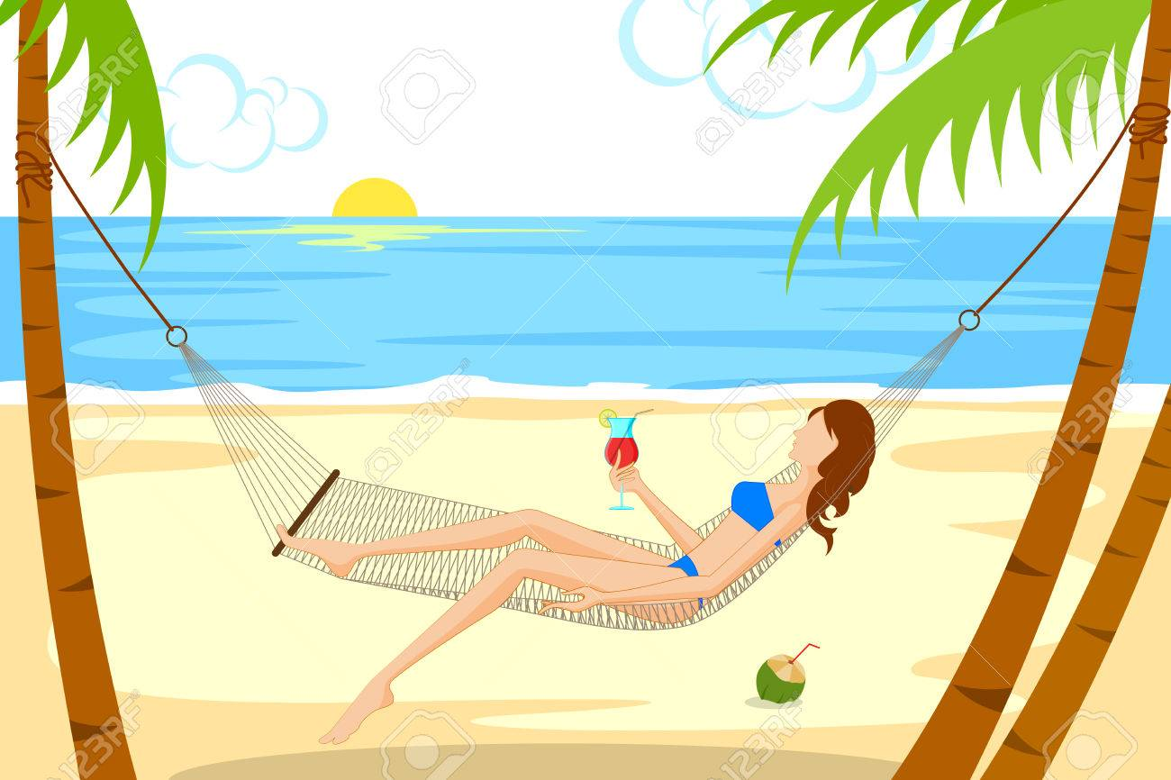 Beautiful Woman Relaxing On Beach In Hammock Vector Illustration Stock