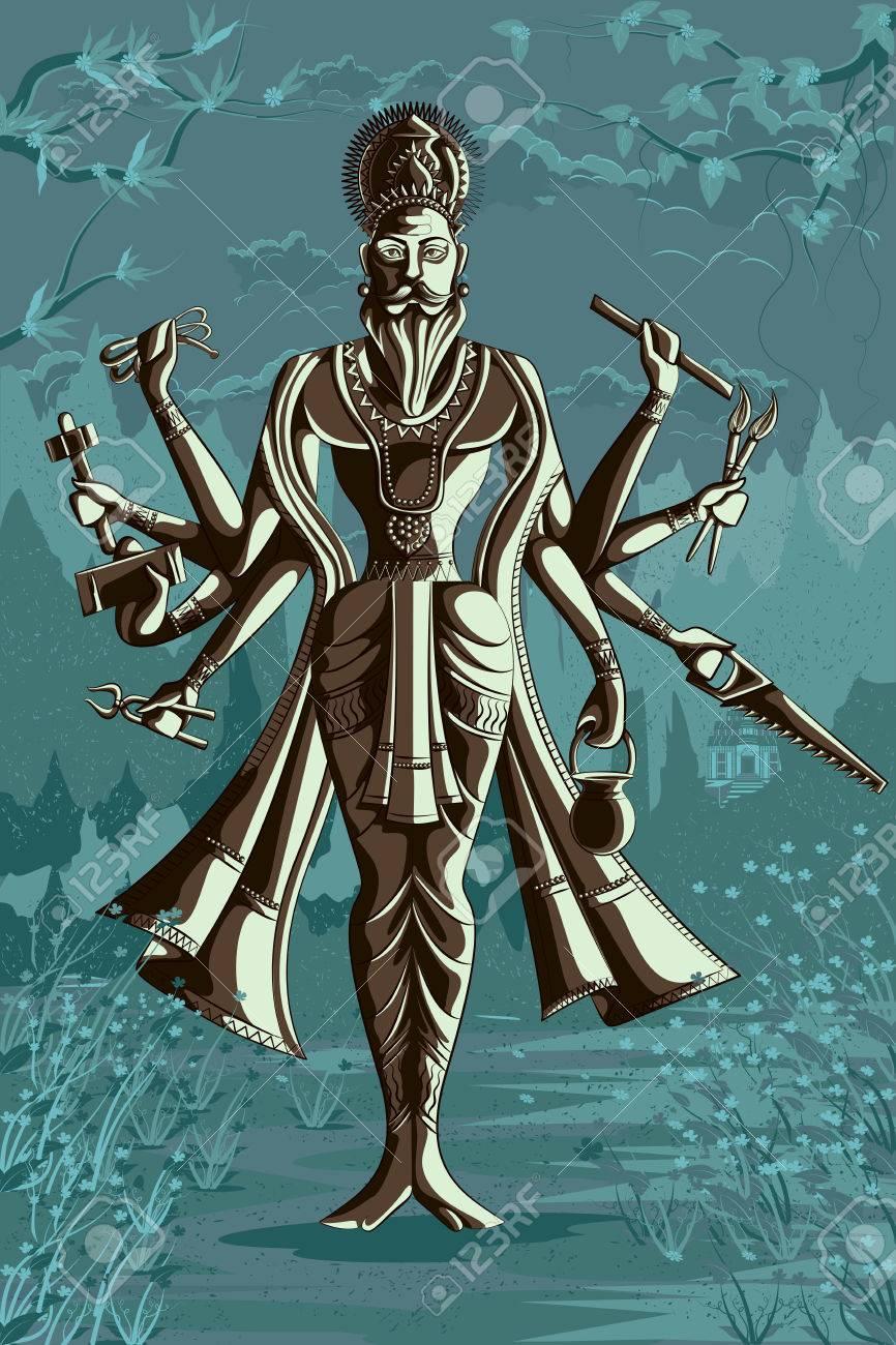 Dieu Indien Vishwakarma Avec Différents Outils Illustration