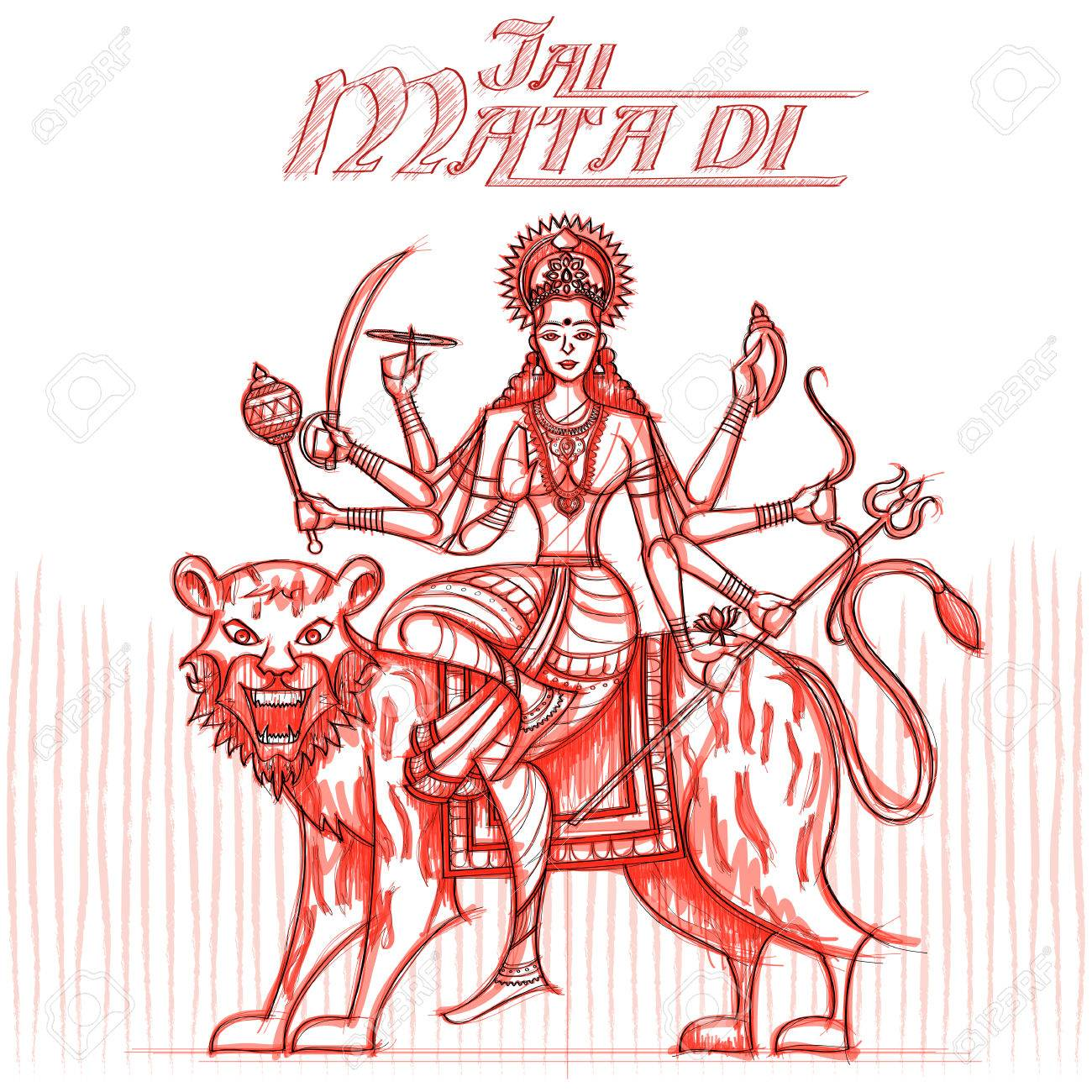 Indian goddess sherawali maa in sketchy look vector illustration stock vector 66437698