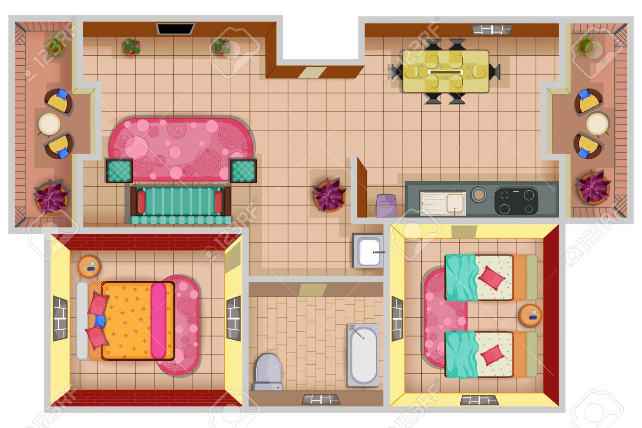 Top View Of Floor Plan Interior Design Layout For House With Furniture And  Fixture Stock Vector