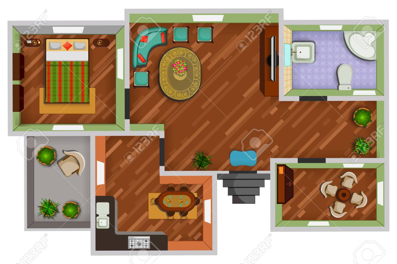 Top View Of Floor Plan Interior Design Layout For House With Royalty Free Cliparts Vectors And Stock Illustration Image 85277349