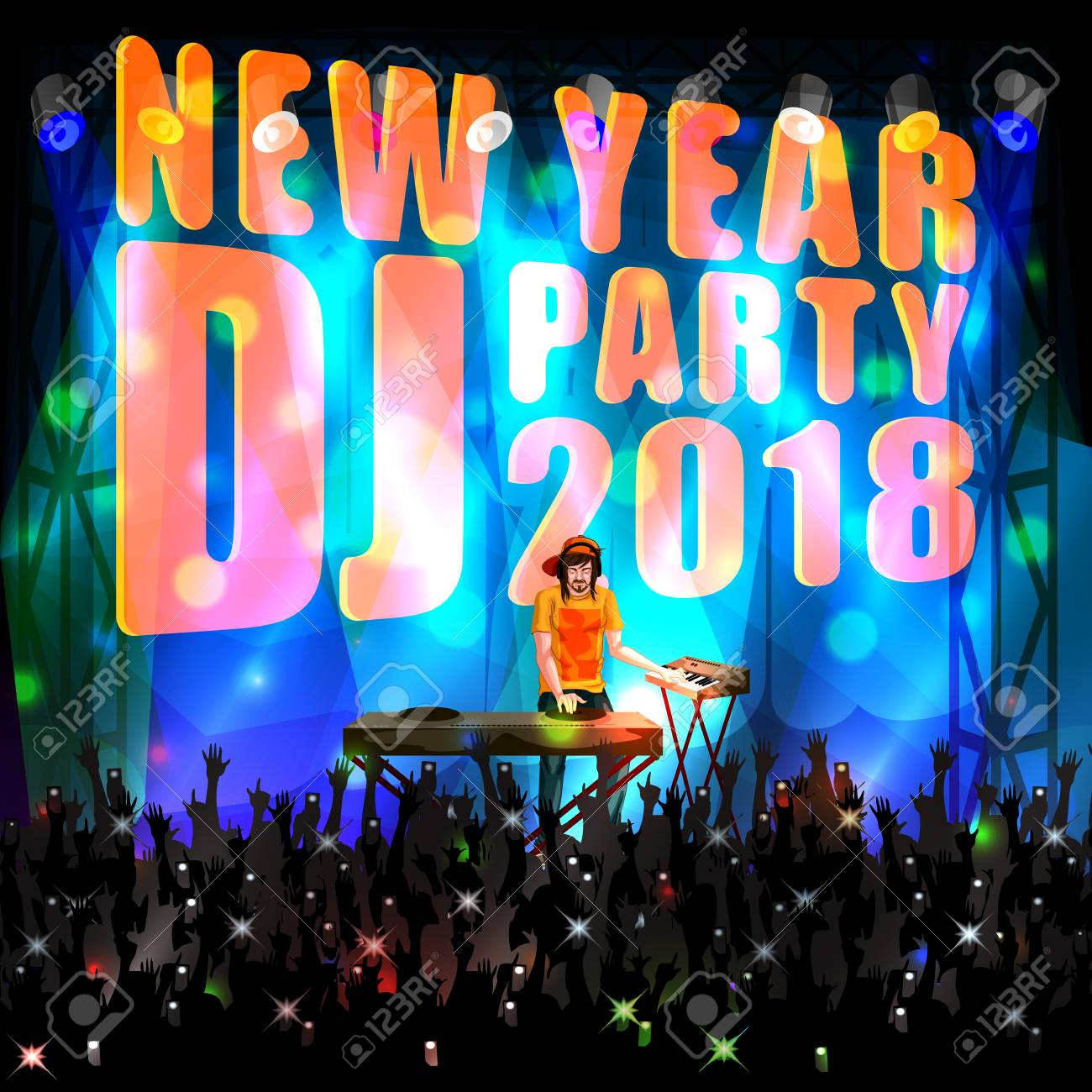 happy new year dj disco party celebration banner invitation template background stock vector 90815011
