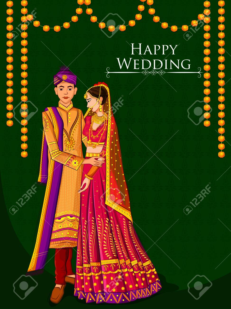 Indian Bride and Groom in ethnic dress Lengha and Serwani for wedding Day. Vector illustration - 128636576