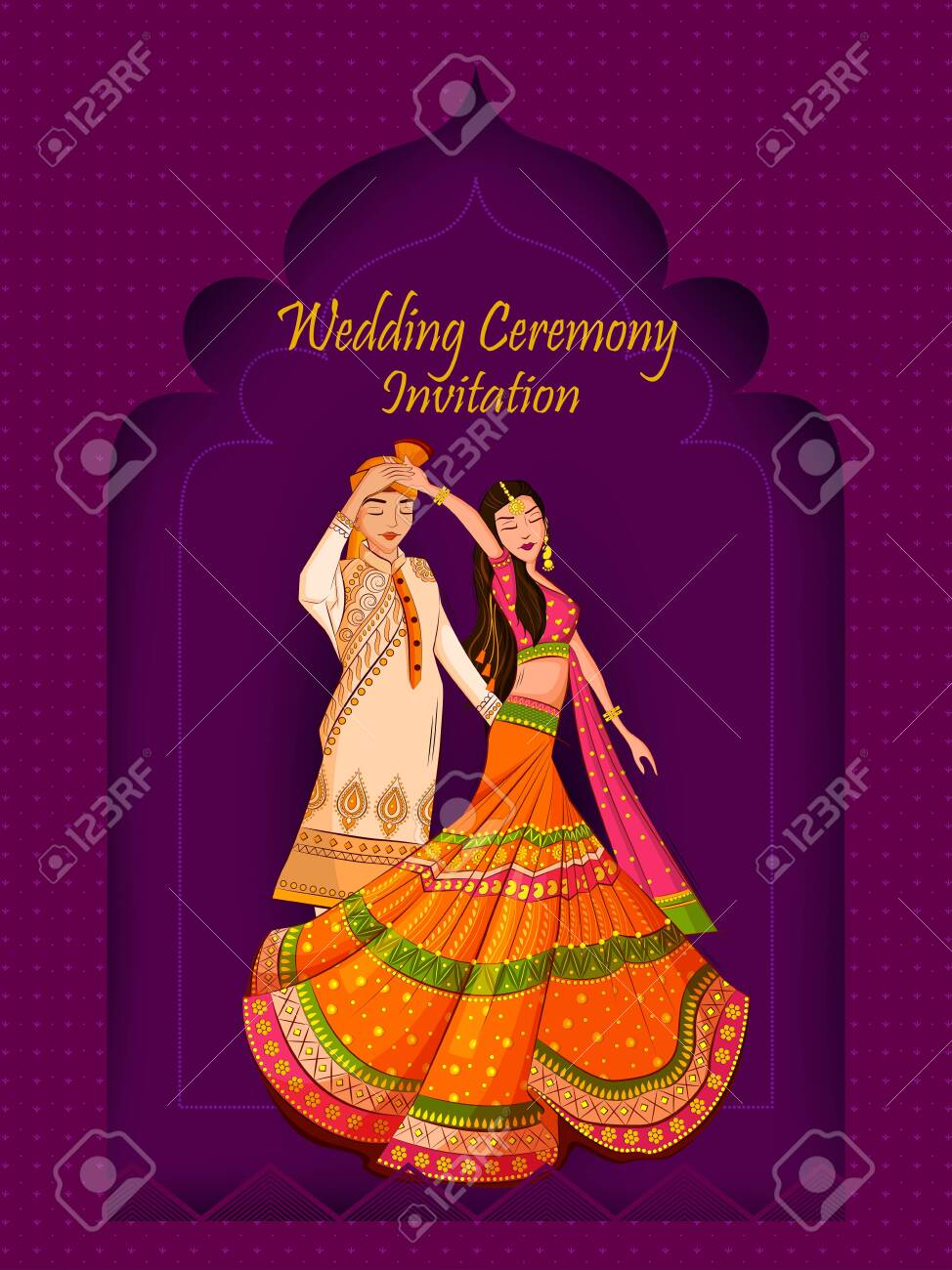Indian Bride and Groom in ethnic dress Lengha and Serwani for wedding Day. Vector illustration - 128636695