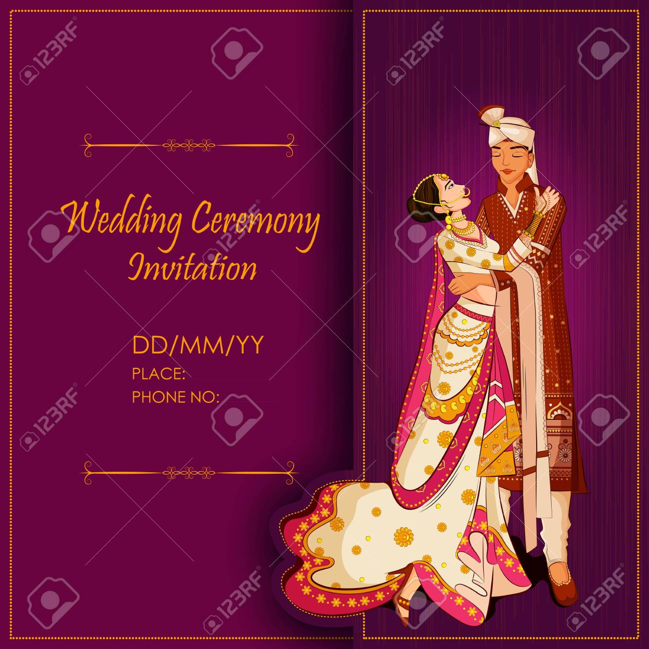 Indian Bride and Groom in ethnic dress Lengha and Serwani for wedding Day. Vector illustration - 128636681