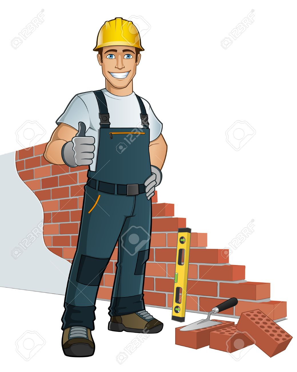 Man Building Wall With Diferent Tools Stock Vector