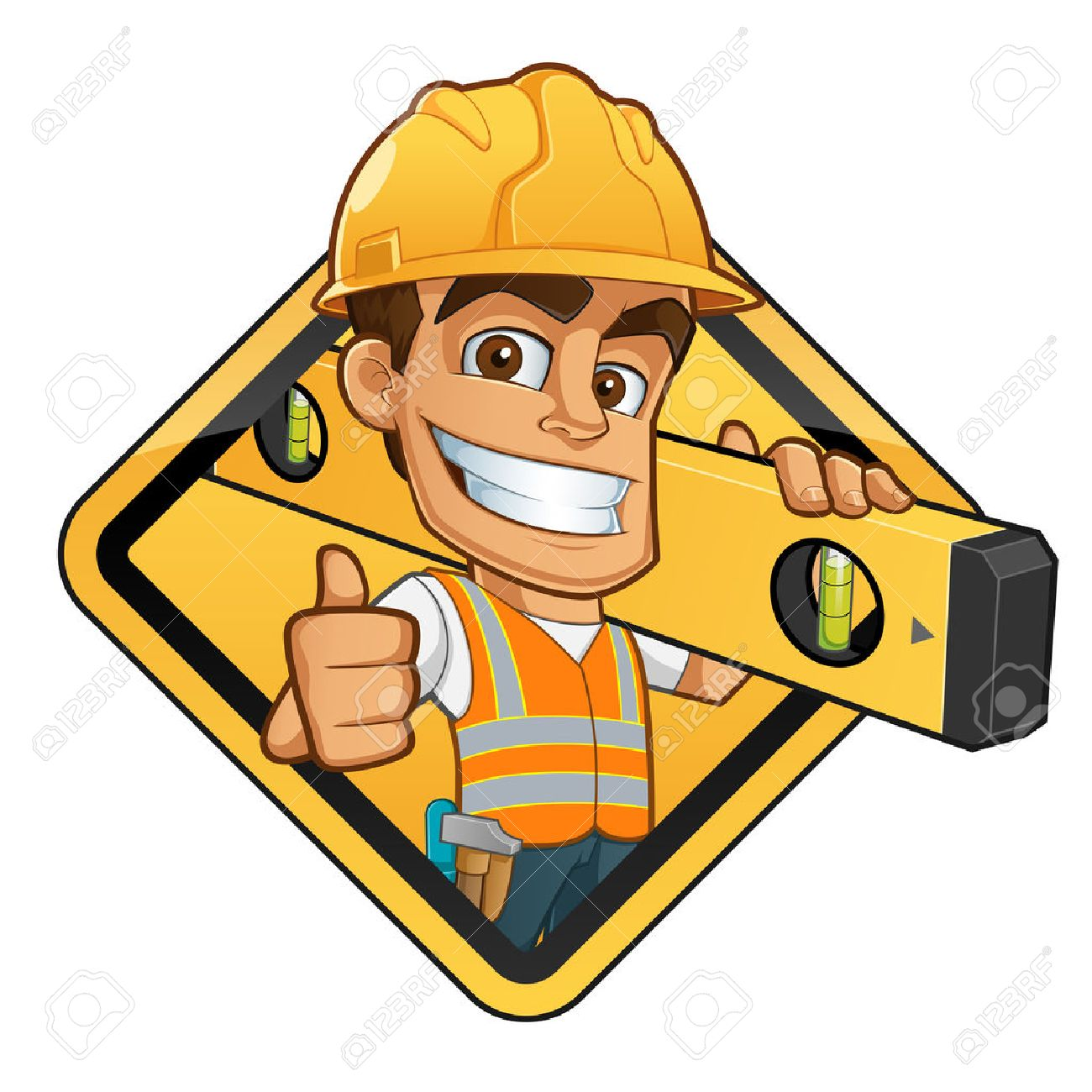 Friendly builder with helmet, carrying a level bubble and a belt with tools - 44065066