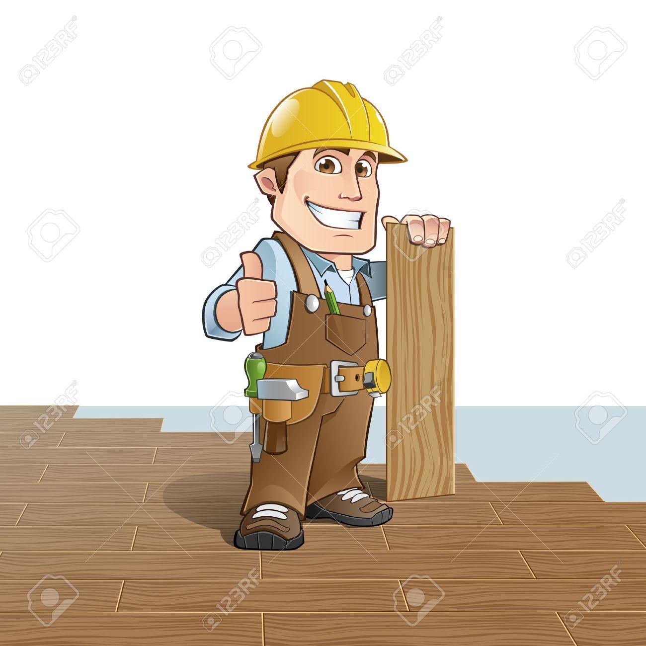 Carpenter installing wood flooring - 44067325