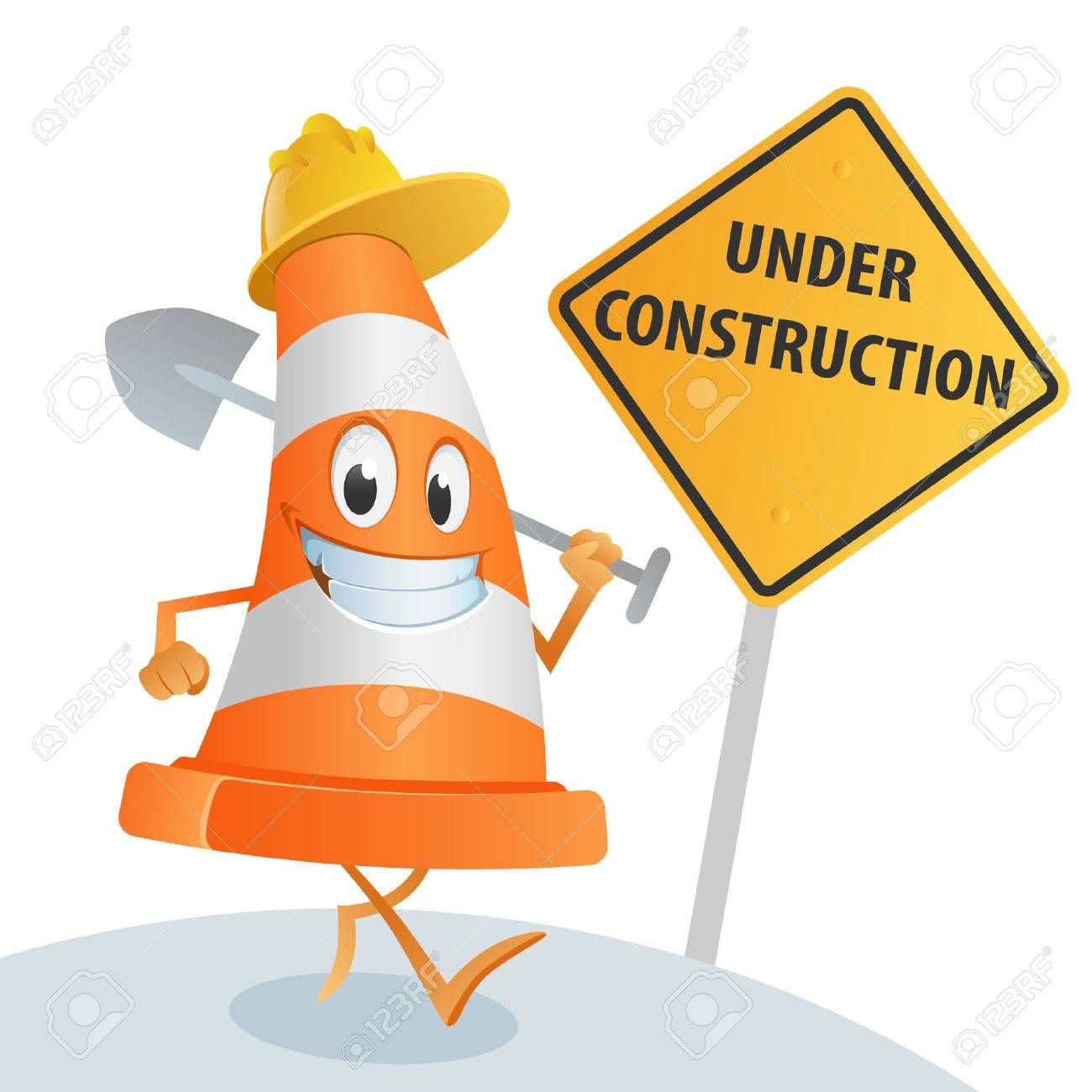 Sympathetic cone with a spade in his hand, and a sign under construction - 44068179