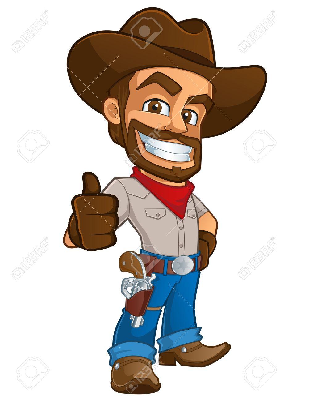 sympathetic cowboy hat, wears boots and a gun - 44068182