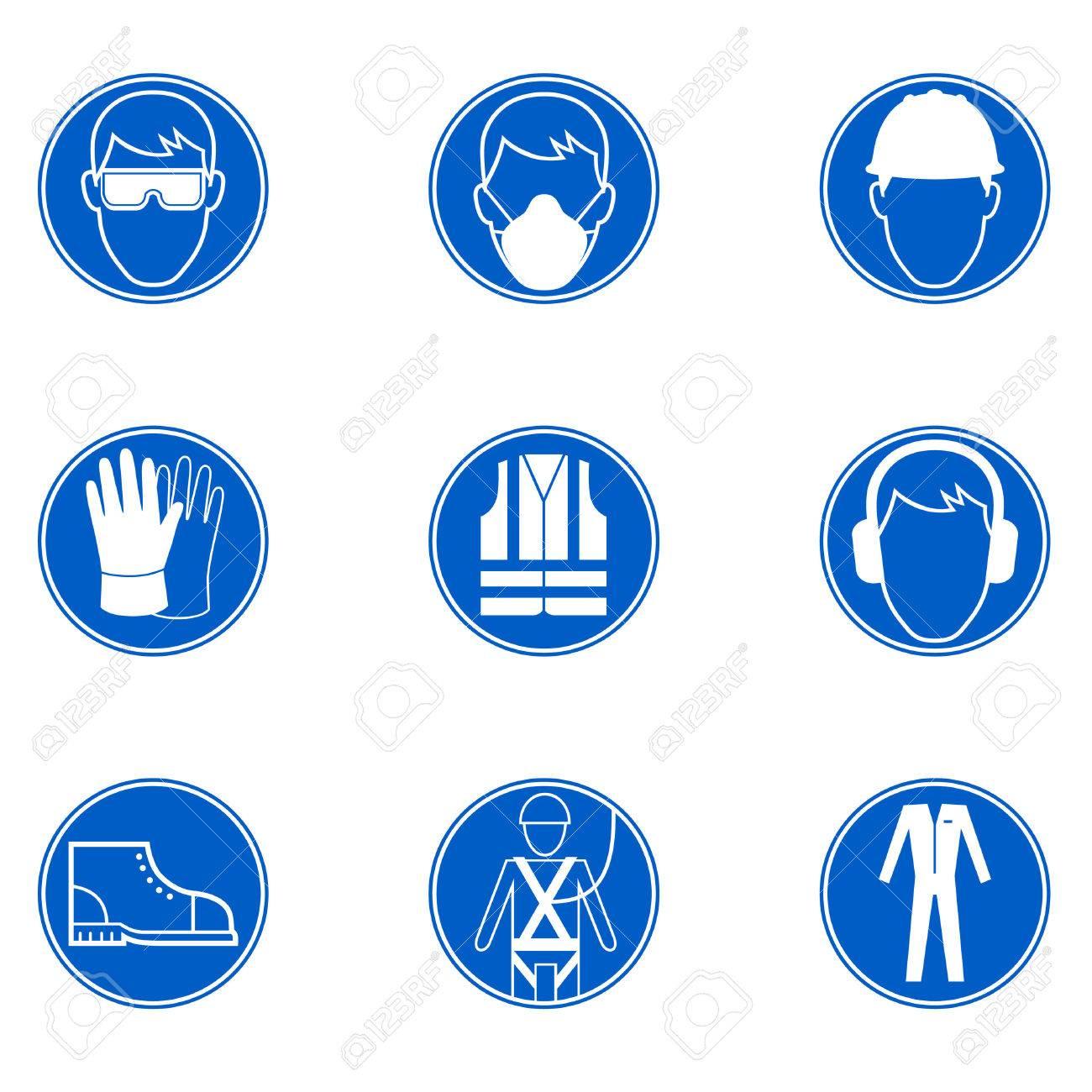 be50570f Foto de archivo - Seis señales de seguridad y protección en el trabajo