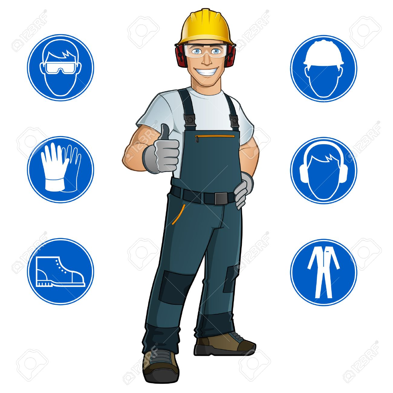 Man dressed in work clothes, and safety at work signs - 44059754