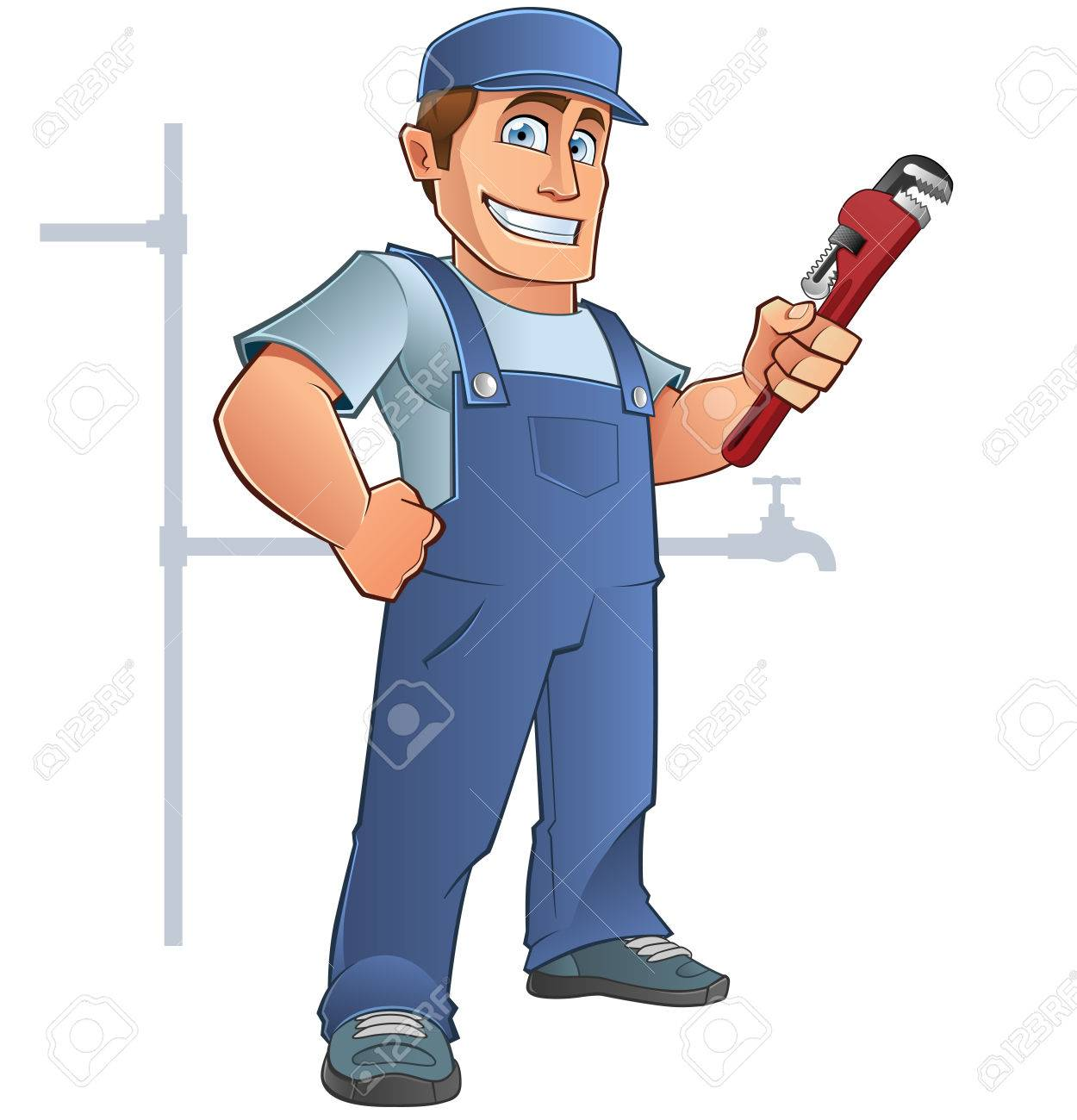 Friendly plumber, he is dressed in work clothes and carrying a tool - 44068381
