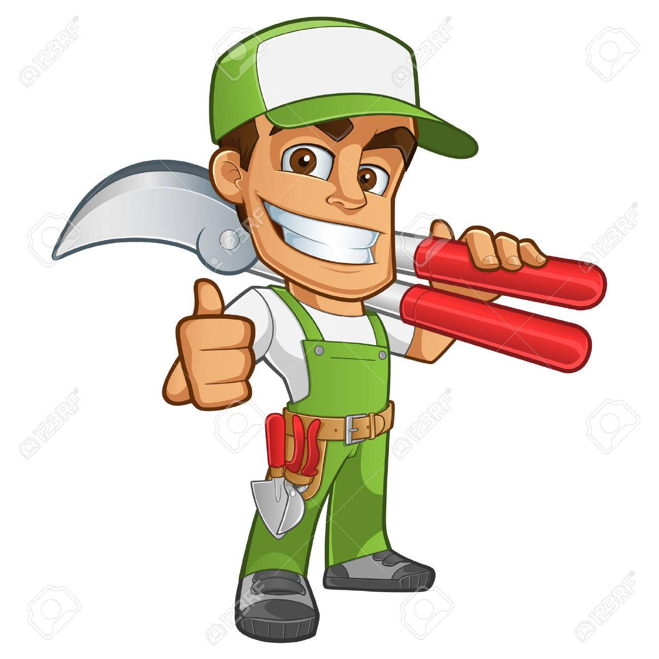 Sympathetic gardener wearing work clothes, he has in his hand a secateurs - 44238788