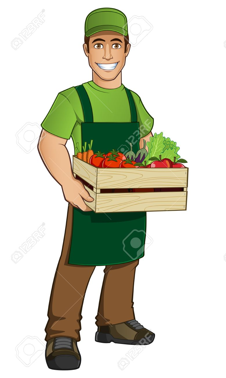 Fruit seller with a box full of fruit and vegetables - 44238792