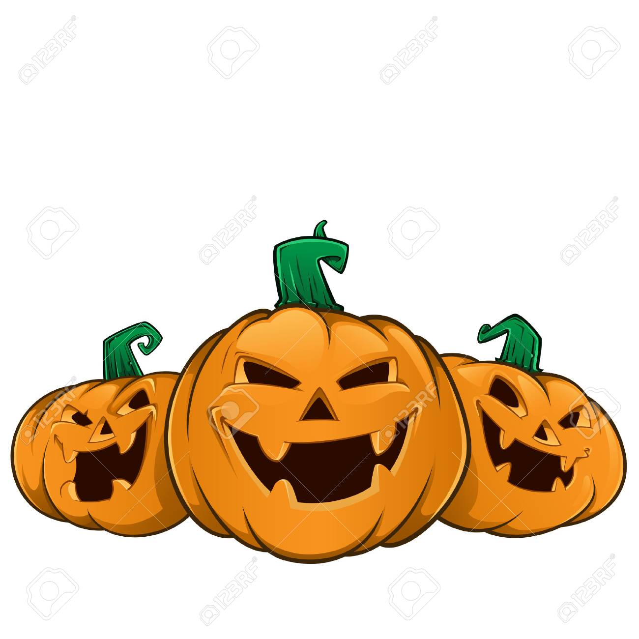 Three pumpkins with evil faces, these are used for Halloween - 45067268