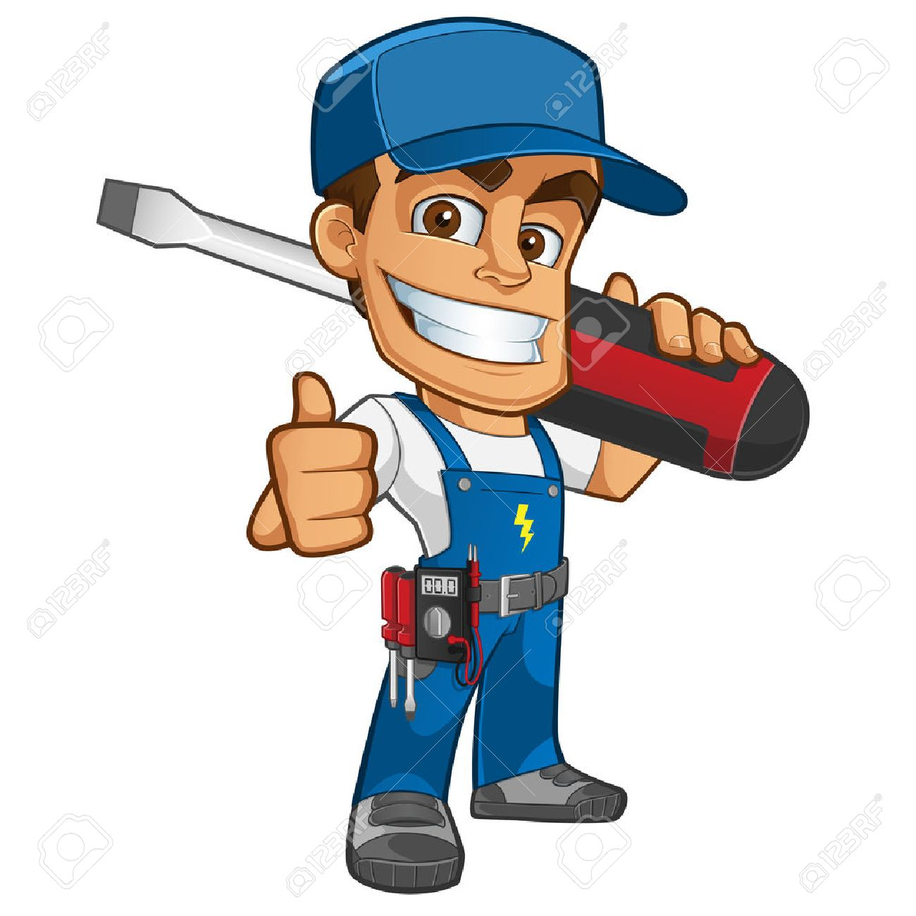 Sympathetic electrician, he will dress in work clothes and carrying different tools - 45334195