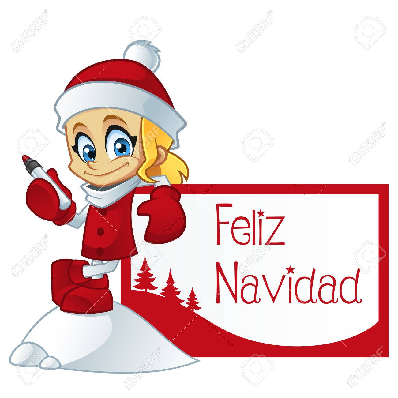 Buon Natale In Spagnolo.Vettoriale Ragazza Vestita Di Babbo Natale E Un Biglietto Di Auguri Con Il Testo Di Buon Natale In Spagnolo Image 48680834