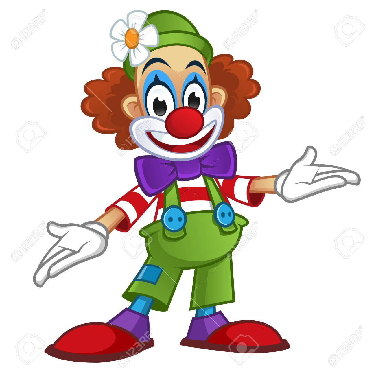 Man disguised in clown clothes, is on white background - 50603890