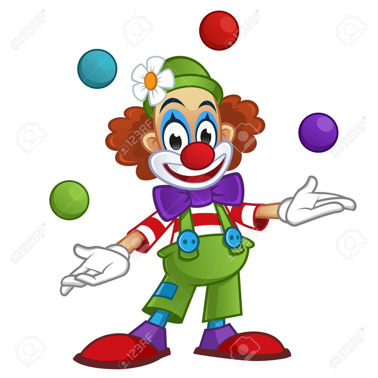 Image Clown man dressed with clothes clown, the clown is playing with balls