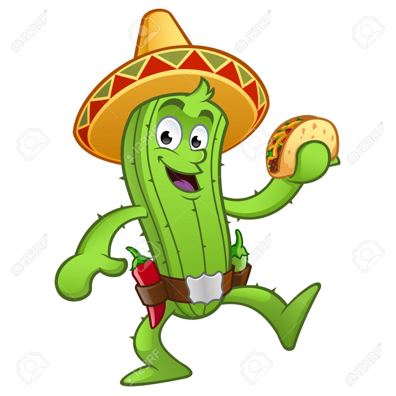 Sympathetic Mexican cactus with a taco in her hand - 58662806