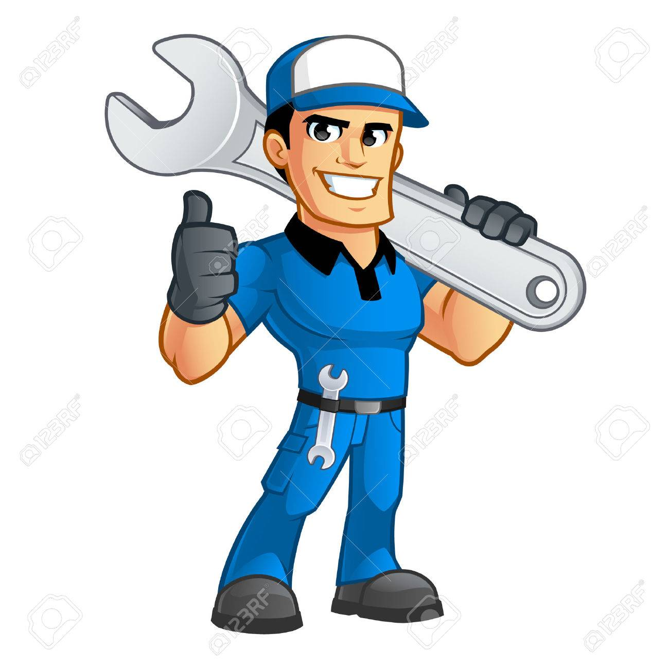 Sympathetic car mechanic, he has a spanner in his belt - 63151146
