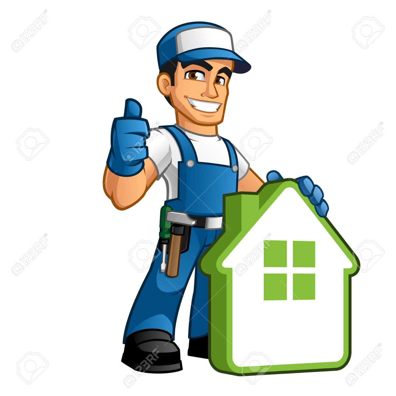 Handyman wearing work clothes and a belt, with tool - 63151178