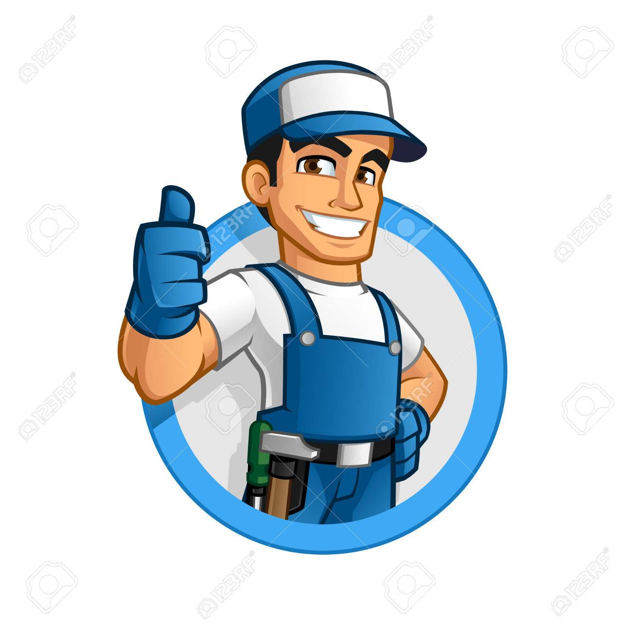 Handyman wearing work clothes and a belt, with tool - 63151180