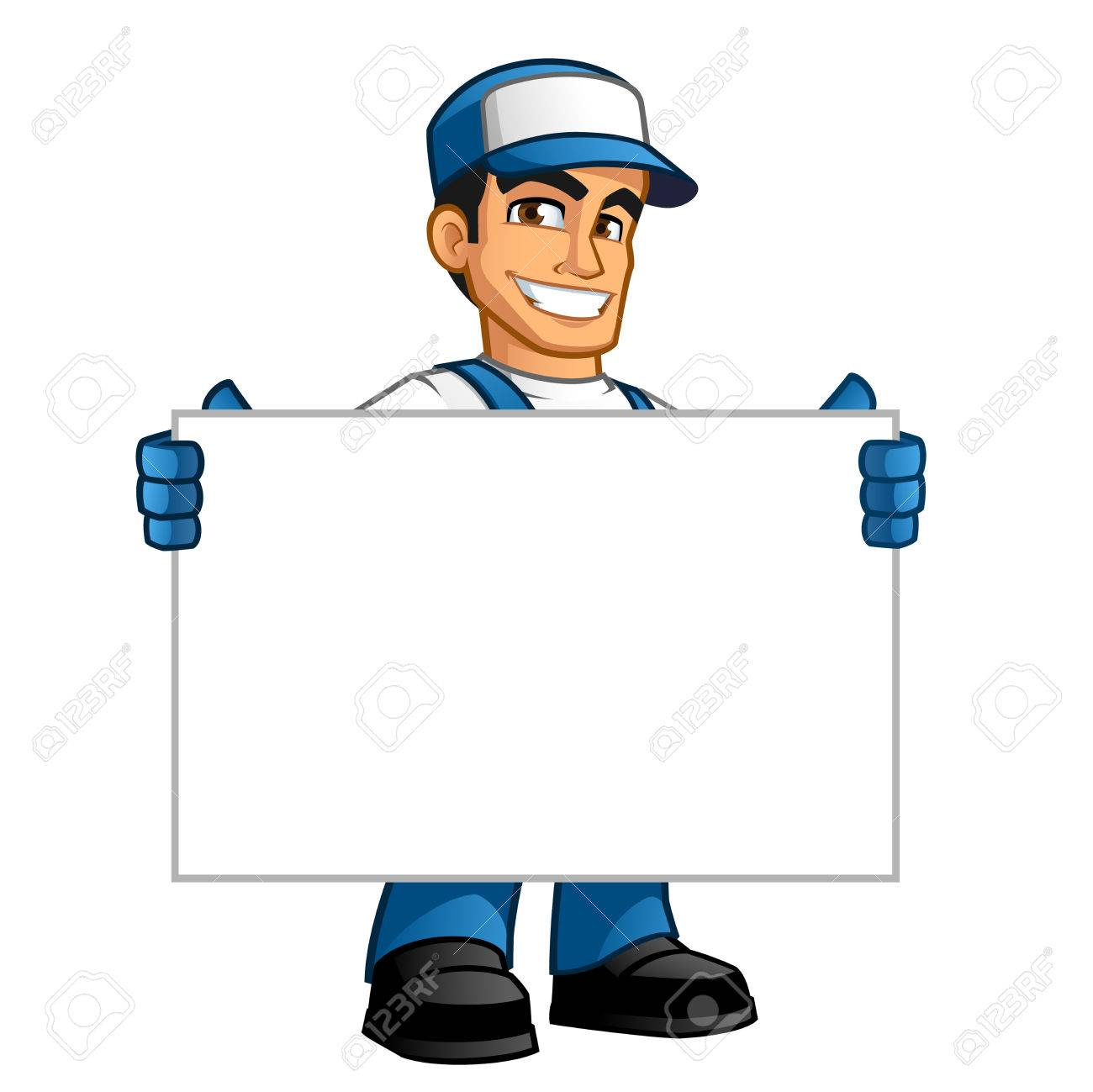 Handyman, he has a blank billboard where you can put your text - 63151185