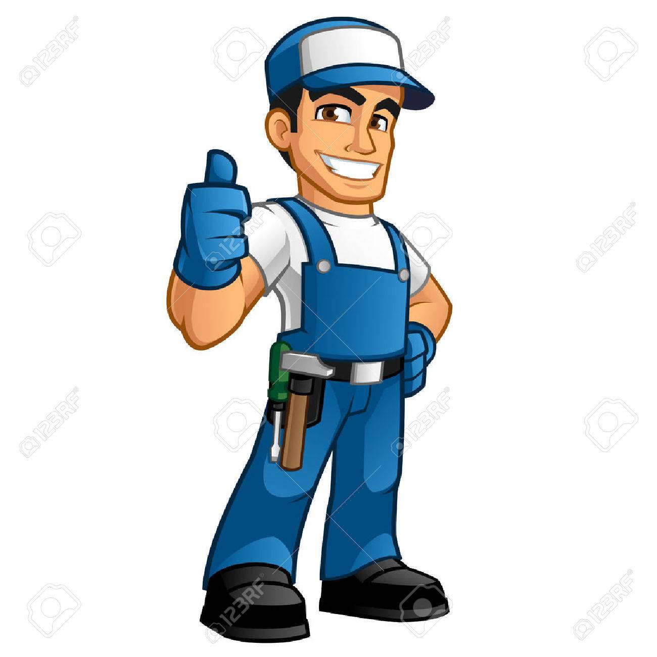 handyman wearing work clothes and a belt with tools - 63151189