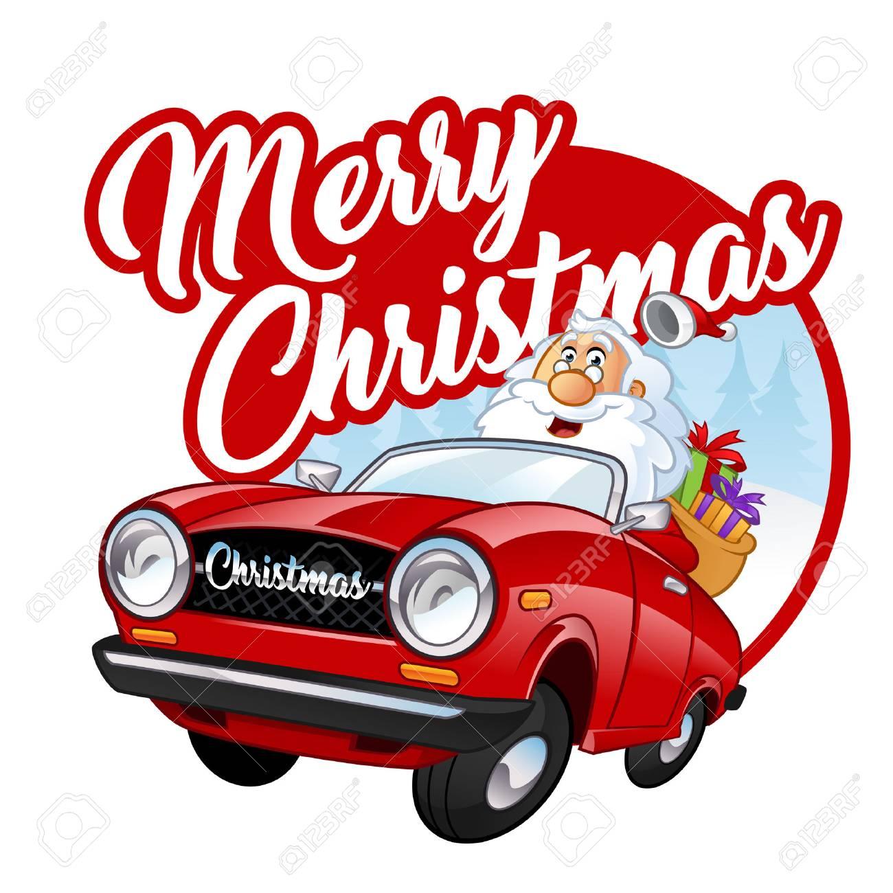 Lustiger Weihnachtsmann Ich Fahrt Ein Rotes Auto Lizenzfrei
