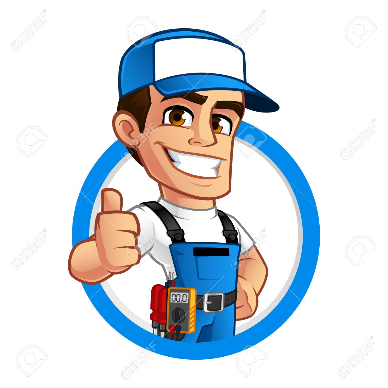 Vector illustration of an electrician, he wears work clothes - 75375437