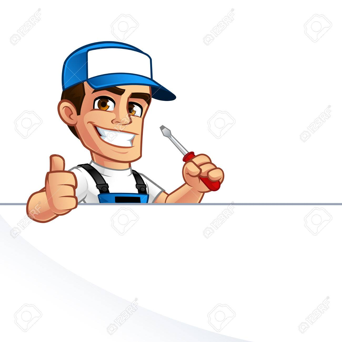 Electrician, he has a screwdriver in his hand - 75375435