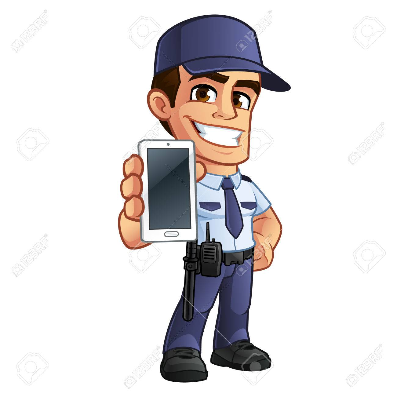Nice security guard, he's dressed in uniform - 75642507