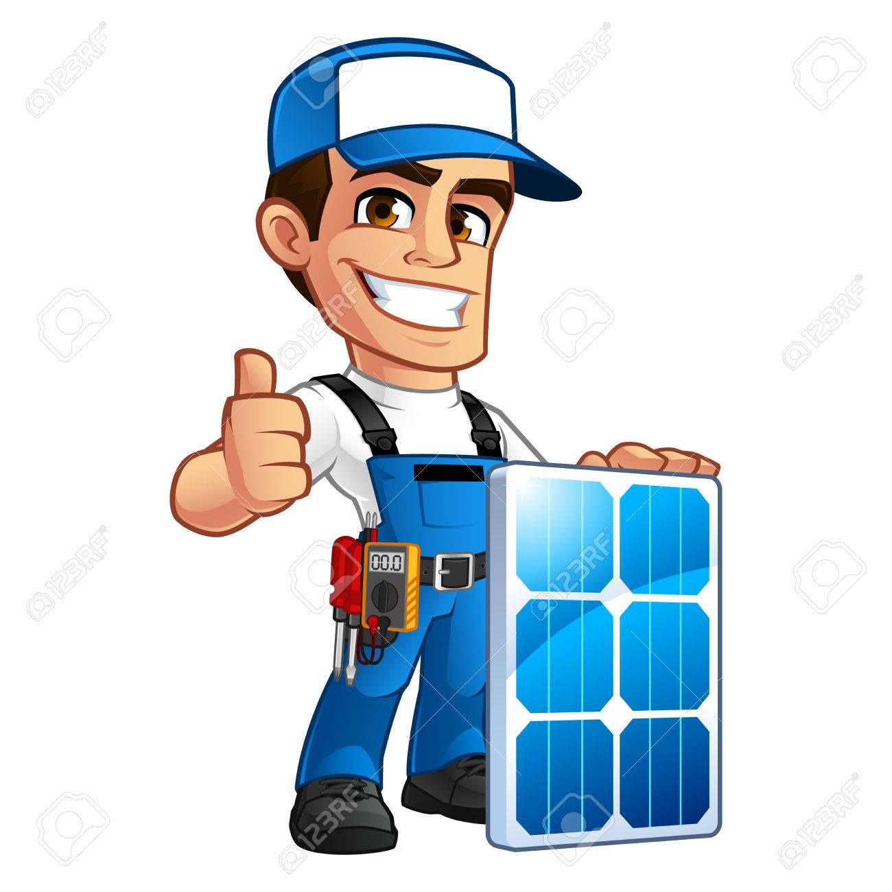 Friendly technician installer of solar panels, he wears a belt with tools - 75830812