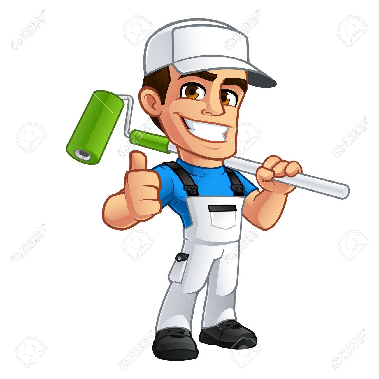 Vector illustration of a professional painter, he is dressed in working clothes - 76371924