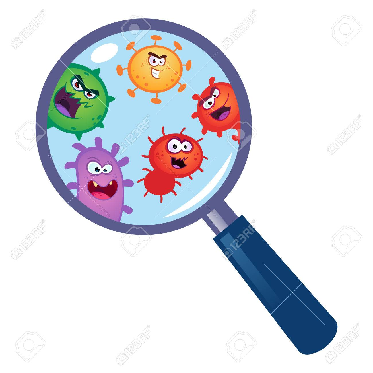 magnifying glass look through germ bacteria virus stock vector 79809654