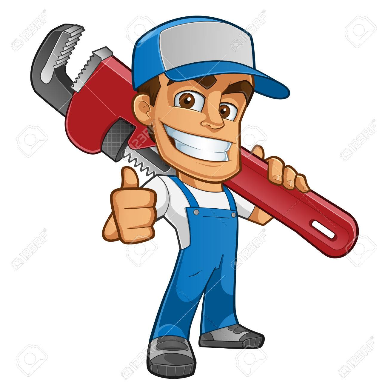 Friendly plumber, he is dressed in work clothes and carrying a tool - 85285775