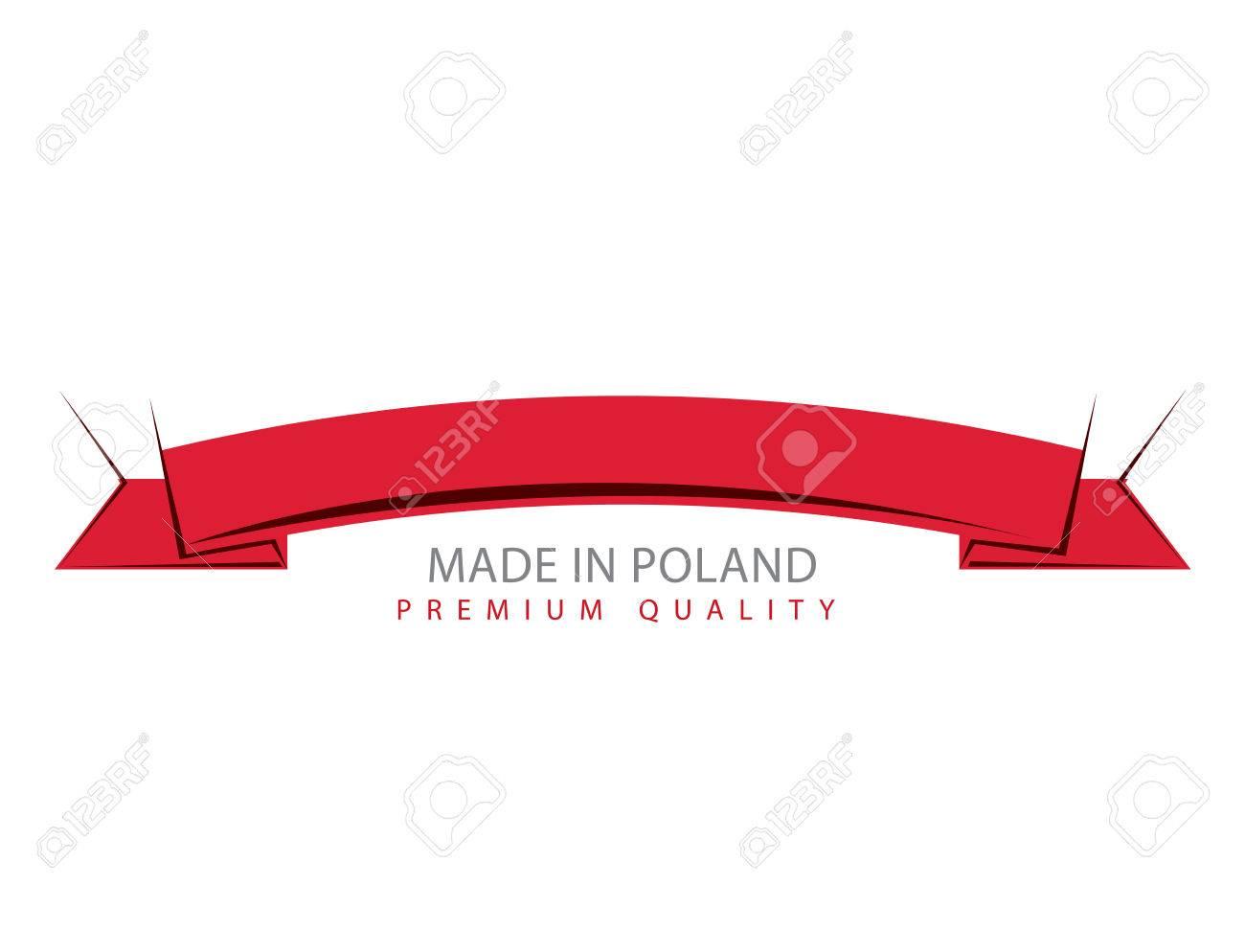 made in poland ribbon polish flag vector art royalty free