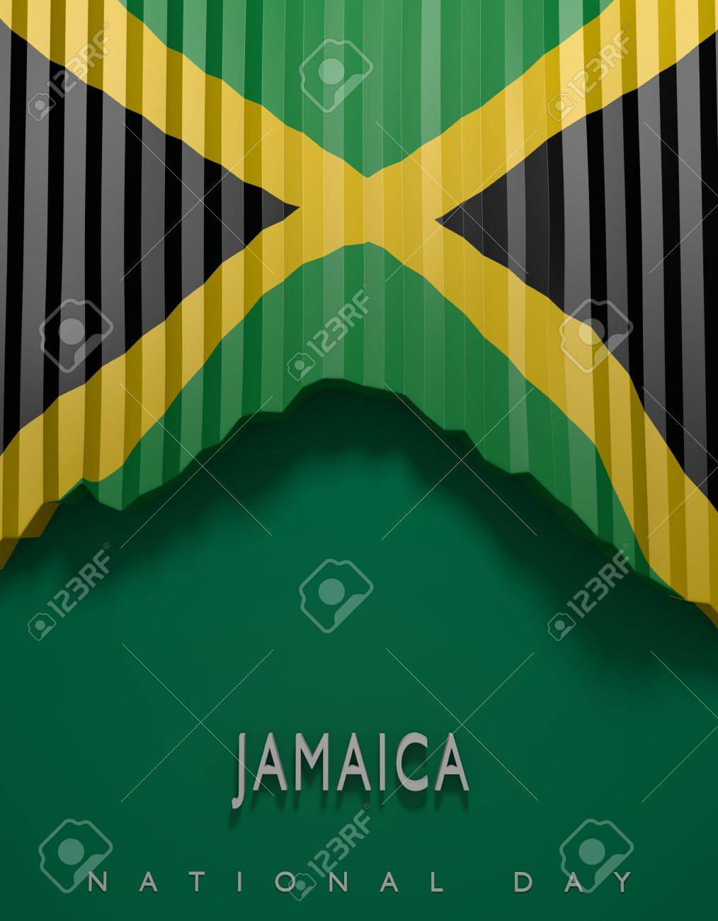 Flag Jamaican Colors Jamaica Flag 3d Render Stock Photo Picture