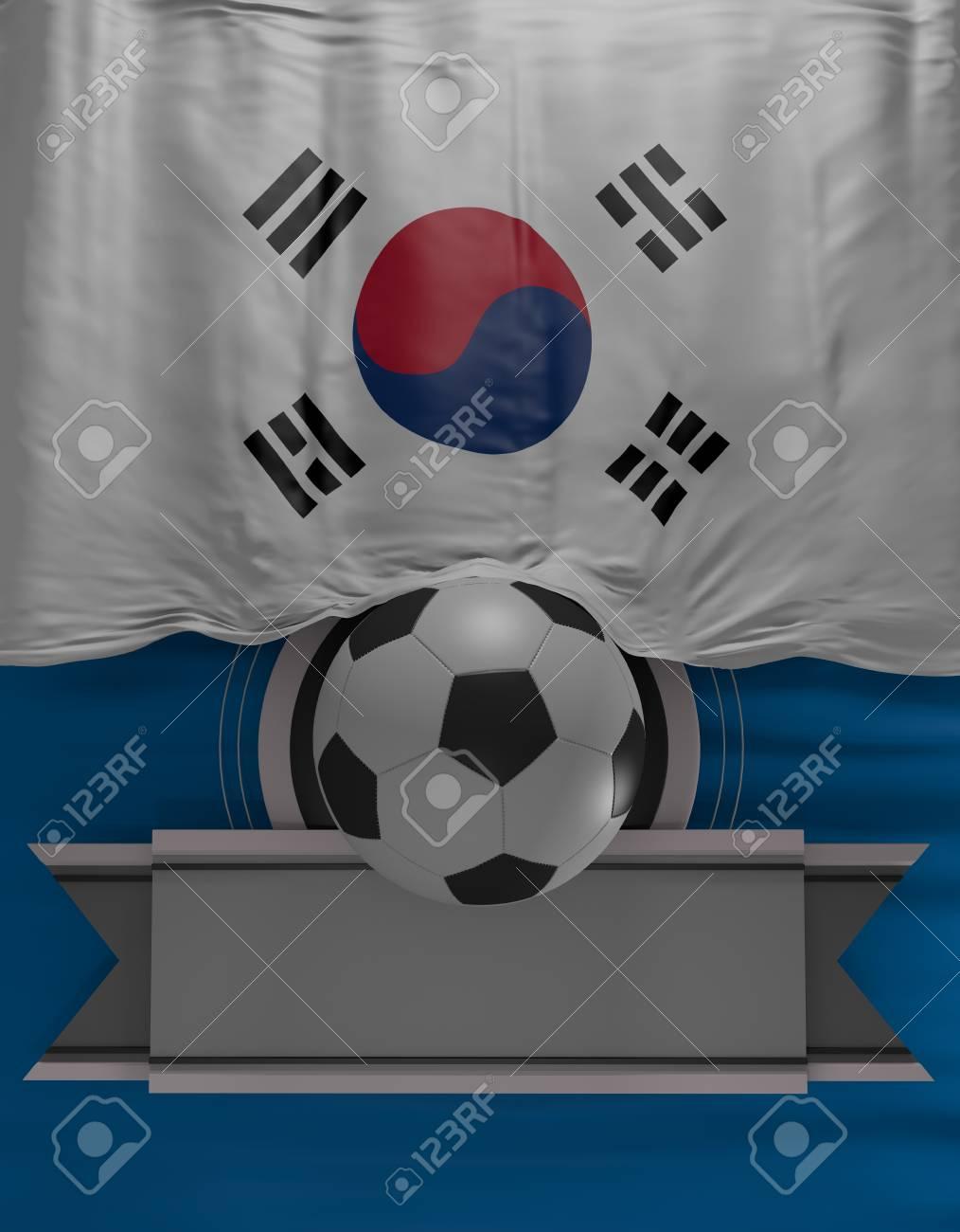 Fußball, Fußball, Flagge Südkoreanischen Farben, Südkorea Flagge (3D ...