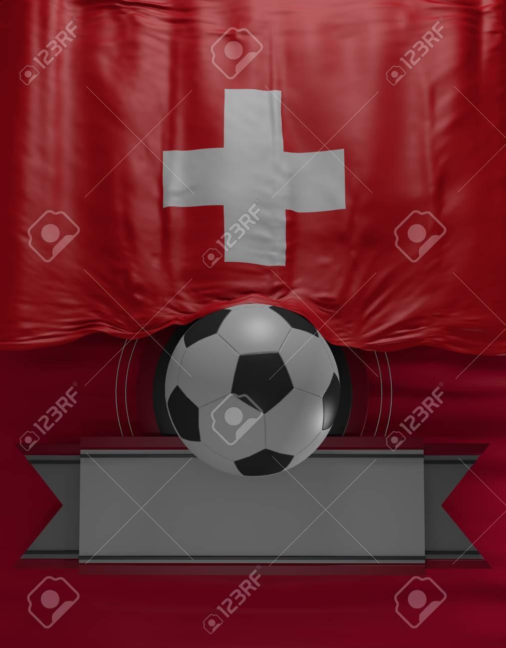 Fußball, Fußball, Flagge Schweizer Farben, Schweiz Flagge (3D Render ...